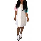 LovelyLeisure Round Neck Patchwork Pink Blending Mini Dress