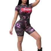 Lovely Trendy Round Neck Letters+Camouflage Printed Purple Polyester One-piece Short Jumpsuits
