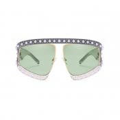 Lovely Fashion Pearl Trim Big Frame Design Green PC Sunglasses