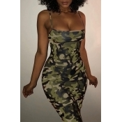 Lovely Sexy Spaghetti Strap Sleeveless Camouflage Printed Green Polyester Knee Length Dress