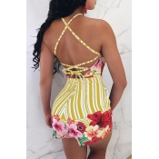 Lovely Nifty Dew Shoulder Lace-up Striped+Floral Printed Yellow Cotton Blends One-piece Short Jumpsuits