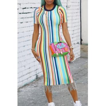 LovelyTrendy Round Neck Fringe Tassels Striped Printed Blending Mid Calf Dress