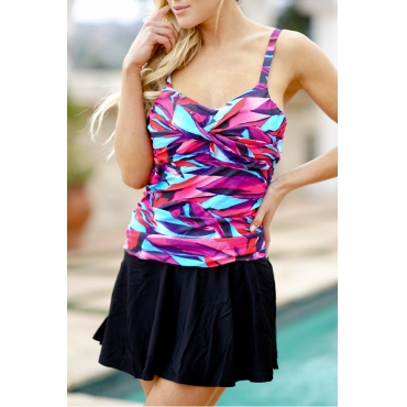 Lovely Pretty V Neck Flounce Printing Polyester One-piece Swimwears