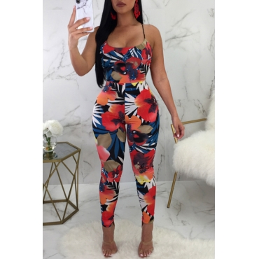 Lovely Leisure U Neck Lace-up Floral Printed Cotton Blends One-piece Jumpsuits