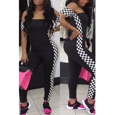 Lovely Chic Bateau Neck Grid Printed Black Qmilch One-piece Jumpsuits