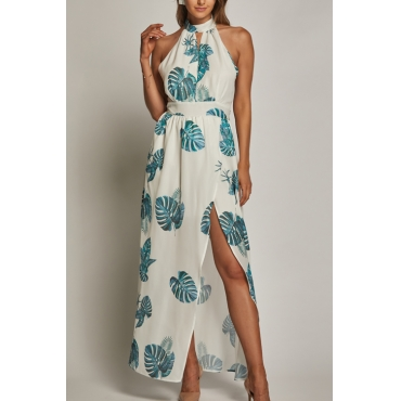 Lovely Bohemian Round Neck Leaf Printed White Rayon Ankle Length Dress