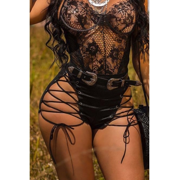 Lovely Chic High Elastic Waist Lace-up Black PU Shorts