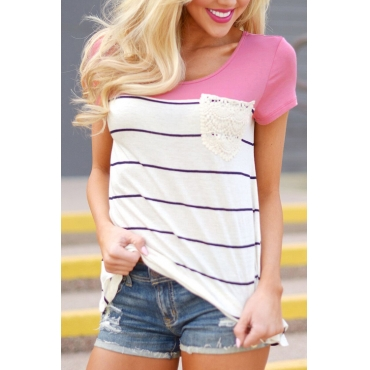 Lovely Casual Round Neck Striped Patchwork Pink Cotton Blends T-shirt