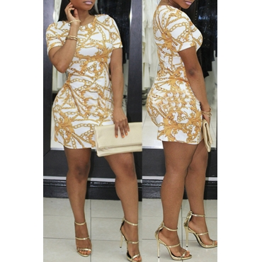 Lovely Fashion Round Neck Short Sleeves Printing White Healthy Fabric Mini Dress