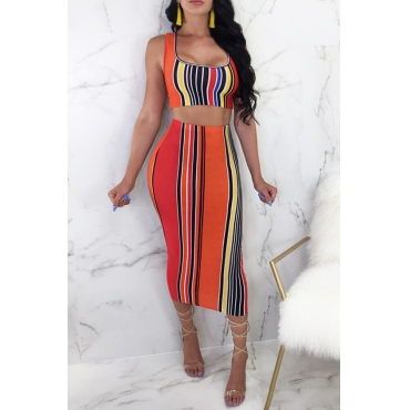 Lovely Casual U Neck Striped Orange Qmilch Two-piece Skirt Set