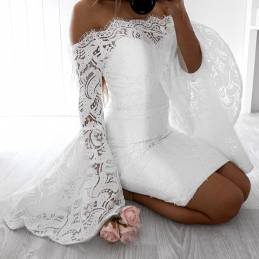 Lovely Fashion Bateau Neck Flared Sleeves Hollow-out White Lace Knee Length Dress