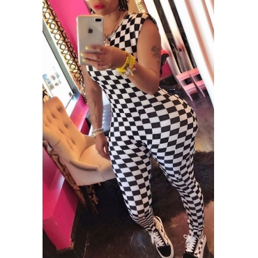 Lovely Casual Round Neck Plaid Printed White Polyester One-piece Jumpsuits