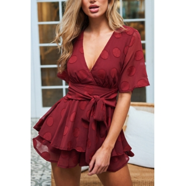 Lovely Stylish Deep V Neck Dots Design Red Chiffon One-piece Jumpsuits
