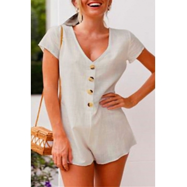 Lovely Fashionable Round Neck Button Decorative Apricot Polyester One-piece Jumpsuits