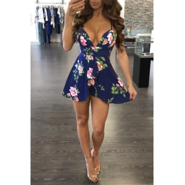 Lovely Stylish V Neck Floral Printed Dark Blue Cotton Blend Mini Dress
