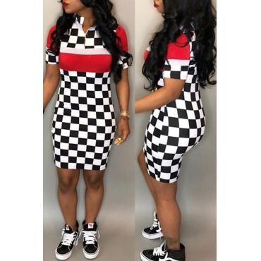 Lovely Trendy Turndown Collar Grid Printed Red Milk Fiber Mini Dress