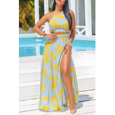 Lovely Elegant Round Neck Side Slit Leaf Printed Yellow Polyester Two-piece Skirt Set