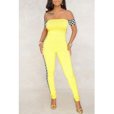 Lovely Fashion Bateau Neck Plaid Printed Yellow Polyester One-piece Jumpsuits