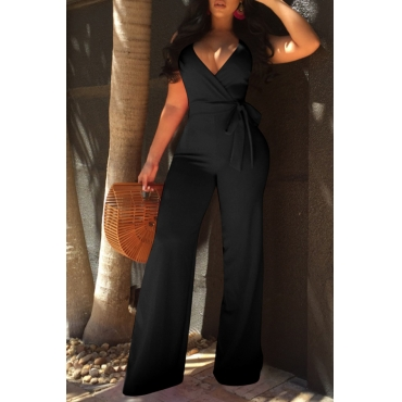 LovelyElegant V Neck SleeveLess Black Polyester One-piece Jumpsuits(With Belt)