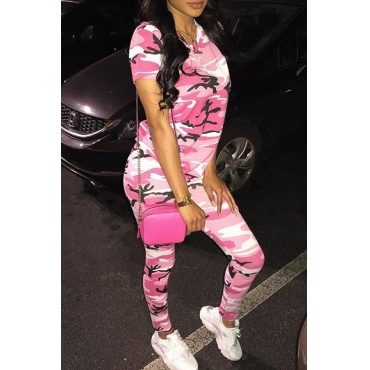 Lovely Casual Round Neck Camouflage Printed Pink Polyester Two-piece Pants Set