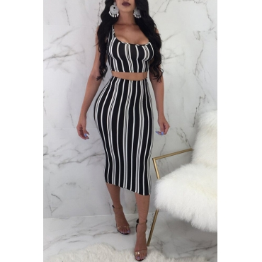 Lovely Casual U Neck Striped Black Qmilch Two-piece Skirt Set