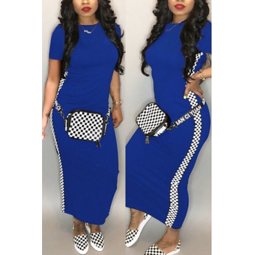 Lovely Fashion Round Neck Grid Printed Royalblue Blending Ankle Length Dress