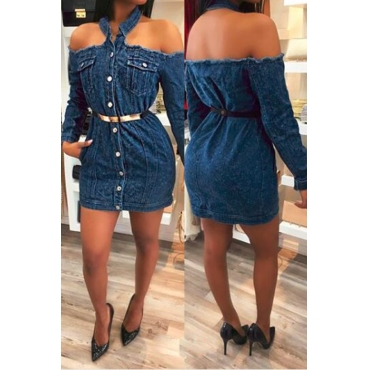 Lovely Fashion Bateau Neck Long Sleeves Single Breasted Blue Denim Mini Dress