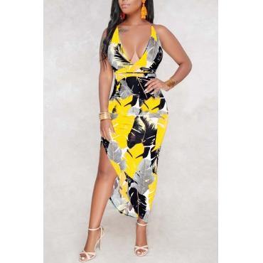 Lovely Bohemian V Neck Leaf Printed Yellow Polyester Ankle Length Dress