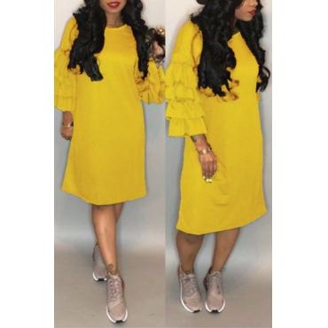Lovely Pretty Round Neck Flounce Yellow Blending Knee Length Dress