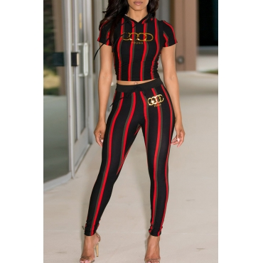 Lovely Leisure Hooded Collar Striped Gilding Letters Black Polyester Two-piece Pants Set