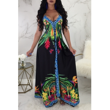 Lovely Bohemian V Neck Floral Printed Black Milk Fiber Floor Length Dress