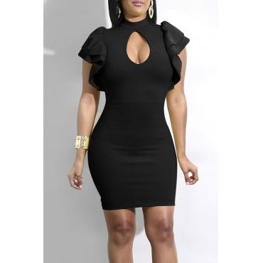 Lovely Fashion Mandarin Collar Ruffle Hollow-out Black Milk Fiber Mini Dress
