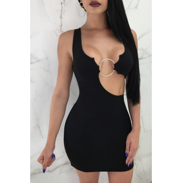 Lovely Sexy V Neck Hollow-out Black Twilled Satin Mini Dress
