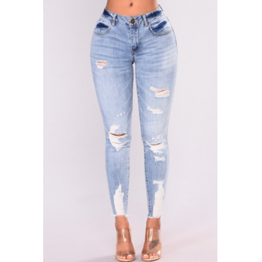 Lovely Casual Mid Waist Broken Holes Baby Blue Denim Zipped Jeans