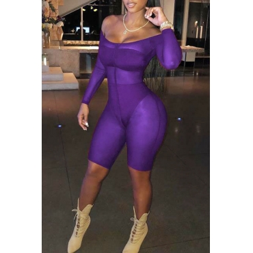 Lovely Sexy U Neck See-Through Purple Polyester One-piece Short Jumpsuits(With Subcoating)