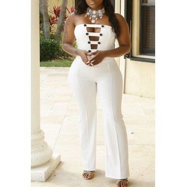 LovelyElegant Bateau Neck Buttons White Polyester One-piece Jumpsuits