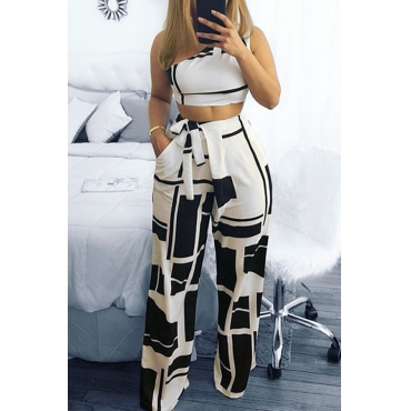 Lovely Chic Show A Shoulder Geometric Printed Black Qmilch Two-piece Pants Set