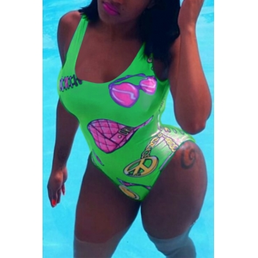 Lovely Trendy U Neck Backless Printing Green Polyester One-piece Swimwears