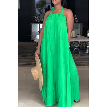Lovely Leisure Halter Neck Backless Green Polyester Floor Length Dress