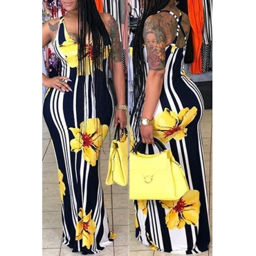 Lovely Lovelywholesale Casual Striped Print Yellow Maxi Dress(Batch Print)