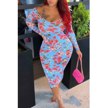 Lovely Sexy V Neck Floral Printed Baby Blue Milk Fiber Mid Calf Dress