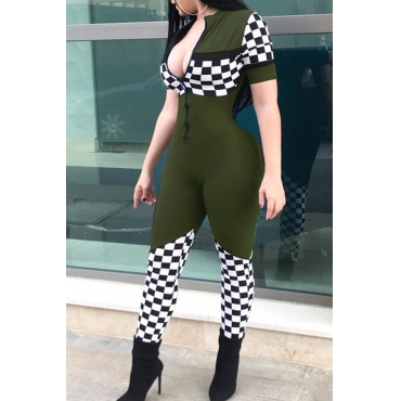 LovelyLeisure Mandarin Collar Grid Printed Army Green Polyester One-piece Jumpsuits