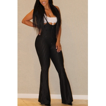 Lovely Black Blending Pants Plain U neck Sleeveless Casual Two Pieces