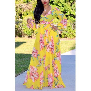 Lovely Bohemian V Neck Long Sleeves Floral Printed Yellow Chiffon Floor Length Dress