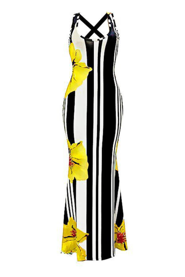 LovelyCasual U Neck Striped+Floral Printed Yellow Blending Floor Length Dress