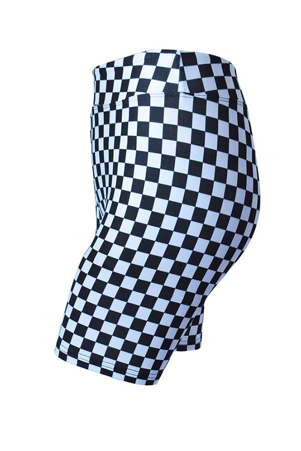 Lovely  Plaid Elastic Waist High Regular Shorts