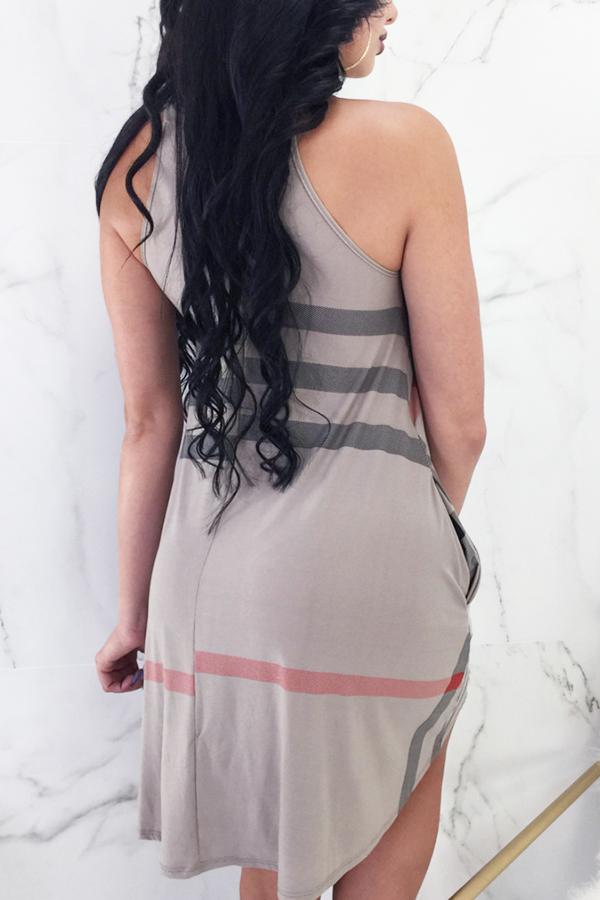 LovelyFashion Round Neck Striped Coffee Milk Fiber Knee Length Dress
