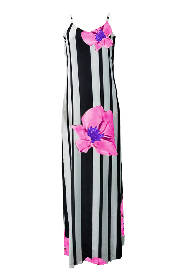 LovelyCasual U Neck Striped+Floral Printed Pink Blending Floor Length Dress