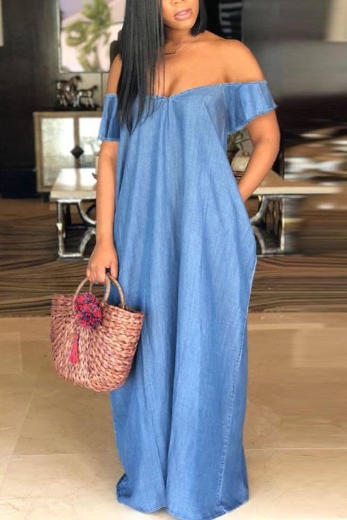 Lovely Casual Bateau Neck Baby Blue Denim Floor Length Dress