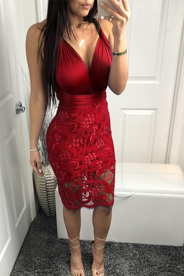 Lovely Chic V Neck Patchwork Bandage Wine Red Lace Sheath Knee Length Dress